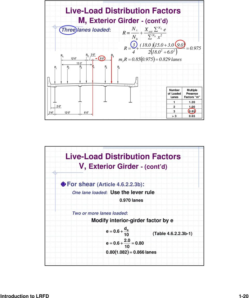 65 Live-Load Distribution Factors V, Exterior Girder - (cont d) For shear (Article 4.6.2.2.3b): One lane loaded: Use the lever rule 0.